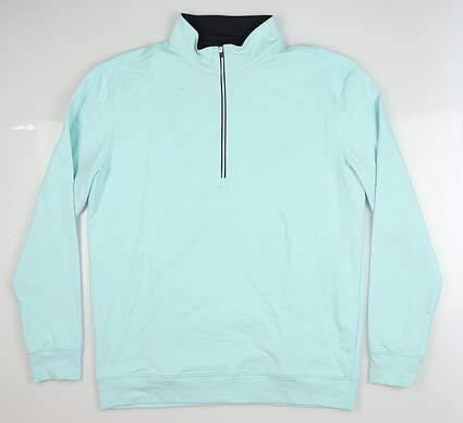 New Mens Straight Down Parker 1/4 Zip Pullover Large L Blue MSRP $92 60481