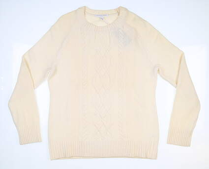 New Womens Fairway & Greene Hayes Cable Sweater Large L Cream MSRP $255 I12274