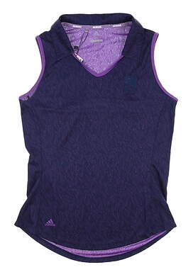 New W/ Logo Womens Adidas Sleeveless Polo Small S Purple MSRP $55 dp5801