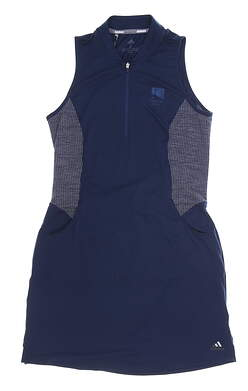 New W/ Logo Womens Adidas Knit Dress Small S Navy Blue MSRP $75 DQ0499