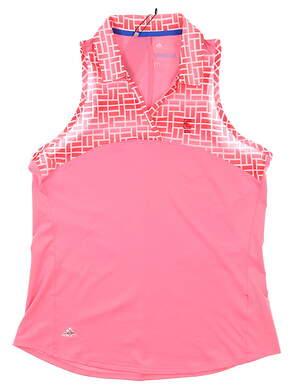 New W/ Logo Womens Adidas Sleeveless Polo Medium M Pink MSRP $65 BC1151