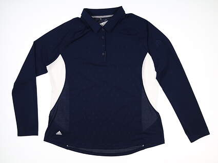 New W/ Logo Womens Adidas Long Sleeve Golf Polo X-Large XL Navy Blue MSRP $75 DQ0519