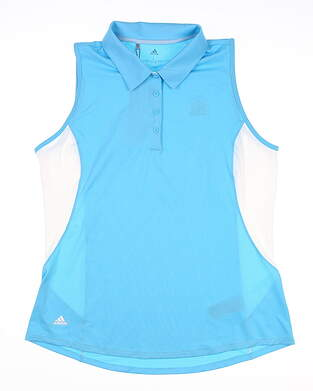 New W/ Logo Womens Adidas Sleeveless Polo Large L Blue MSRP $75