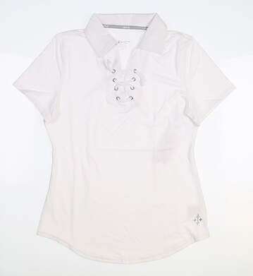 New Womens Jo Fit Lace Up Golf Polo X-Small XS White MSRP $85 GT129-WHT
