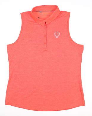 New W/ Logo Womens Under Armour Sleeveless Polo X-Large XL Orange MSRP $70