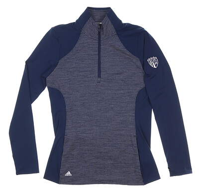 New W/ Logo Womens Adidas 1/4 Zip Pullover Small S Navy Blue MSRP $80 DP5793