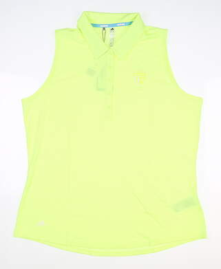 New W/ Logo Womens Adidas Sleeveless Polo Large L Yellow MSRP $60 DQ0518