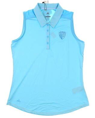 New W/ Logo Womens Adidas Sleeveless Polo Medium M Blue MSRP $60 DQ05631