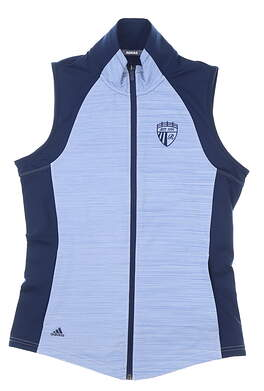 New W/ Logo Womens Adidas Vest Small S Navy Blue MSRP $60 DP5784
