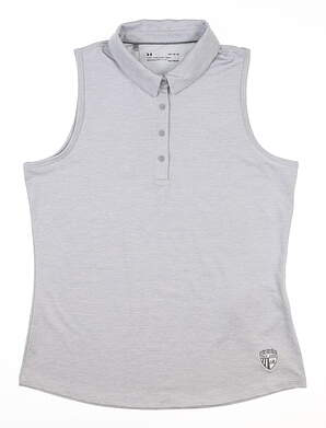 New W/ Logo Womens Under Armour Sleeveless Polo Large L Gray MSRP $75