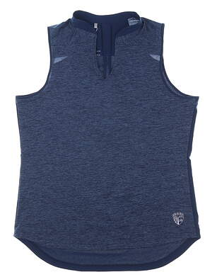 New W/ Logo Womens Under Armour Sleeveless Polo Large L Navy Blue MSRP $75