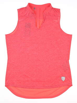 New W/ Logo Womens Under Armour Sleeveless Polo Large L Red MSRP $75