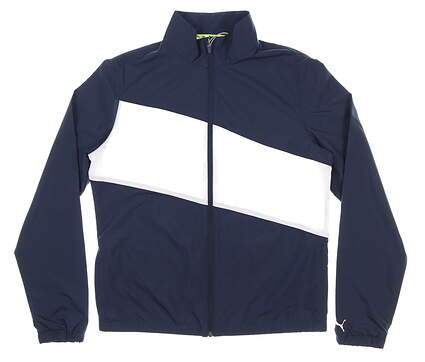 New Womens Puma Wind Jacket Small S White/Navy Blue MSRP $90 50155