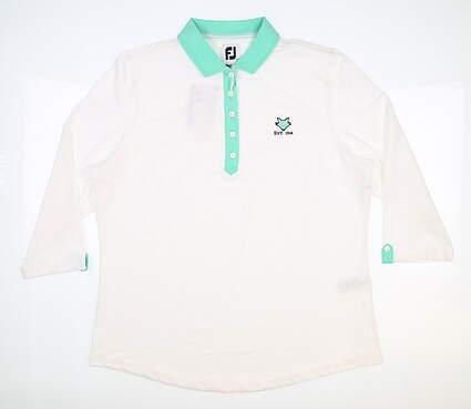 New W/ Logo Womens Footjoy 3/4 Sleeve Golf Polo Medium M White/Jade MSRP $85 27629