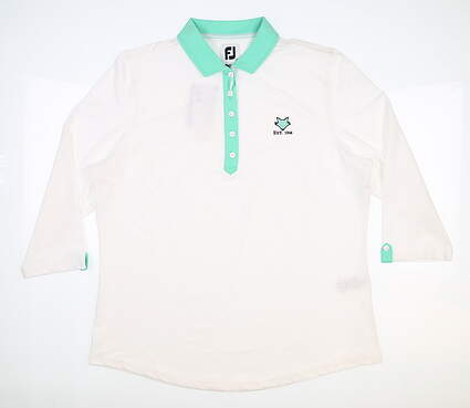 New W/ Logo Womens Footjoy 3/4 Sleeve Golf Polo X-Large XL White/Jade MSRP $85 27629