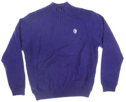 New W/ Logo Mens Greg Norman 1/4 Zip Sweater Large L Purple MSRP $120