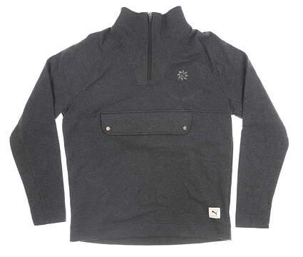 New W/ Logo Mens Puma 1/2 Zip Pullover Medium M Gray MSRP $90 595118