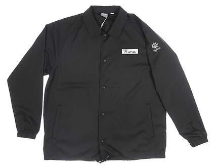 New W/ Logo Mens Puma Coaches Jacket X-Large XL Black MSRP $90 595124