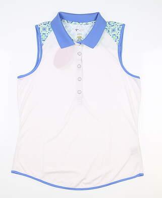 New Womens Greg Norman Sleeveless Polo Medium M White MSRP $80 G2S8K305