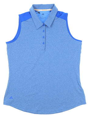 New Womens Adidas Sleeveless Polo Large L Blue MSRP $70 FS8428