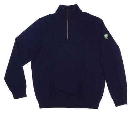 New W/ Logo Mens Ralph Lauren 1/4 Zip Sweater Medium M Navy Blue MSRP $200