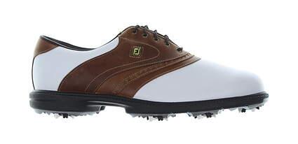 New Mens Golf Shoe Footjoy Superlites Medium 9.5 White/Brown MSRP $160 58141