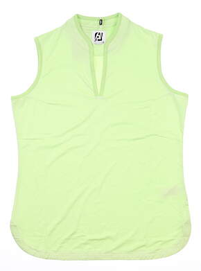 New Womens Footjoy Sleeveless Micro Stripe Polo Small S Sprout/White MSRP $65 27478