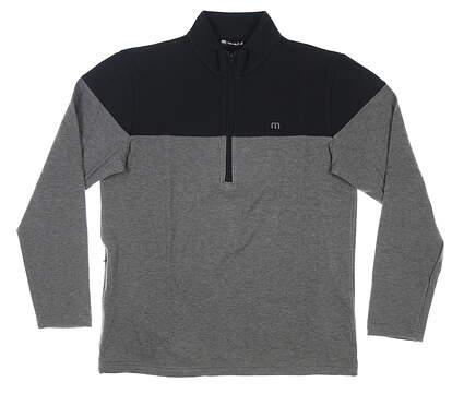 New Mens Travis Mathew Riot Act 1/2 Zip Pullover Medium M Black/Gray MSRP $150 1MS268