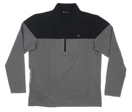 New Mens Travis Mathew Riots Act 1/2 Zip Pullover Large L Black/Gray MSRP $150 1MS268