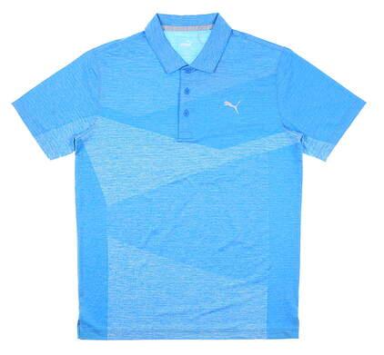 New Mens Puma Alterknit Jacquard Polo Medium M Blue MSRP $65 597133