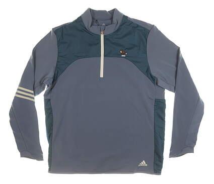 New W/ Logo Mens Adidas 1/4 Zip Golf Pullover Large L Blue MSRP $140 TM5428F8