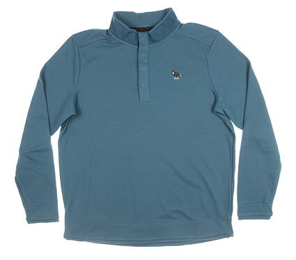 New W/ Logo Mens Under Armour 1/4 Button Pullover X-Large XL Blue MSRP $100