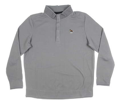 New W/ Logo Mens Under Armour 1/4 Button Pullover X-Large XL Gray MSRP $100