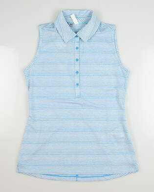 New Womens Under Armour Sleeveless Golf Polo Large L Blue MSRP $72 UW0457