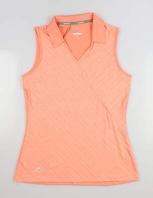 New Womens Adidas Sleeveless Golf Polo Small S Orange MSRP $60 CD3397
