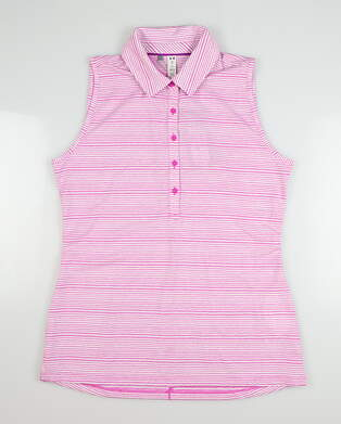 New Womens Under Armour Sleeveless Golf Polo Large L Pink MSRP $72 UW0457