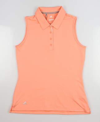 New Womens Adidas Sleeveless Golf Polo Small S Orange MSRP $55 CE3077