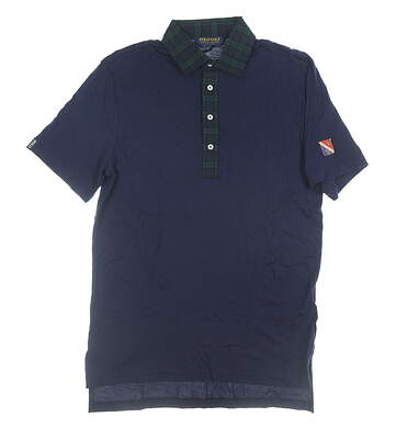 New W/ Logo Mens Ralph Lauren Golf Polo Small S Navy Blue MSRP $100