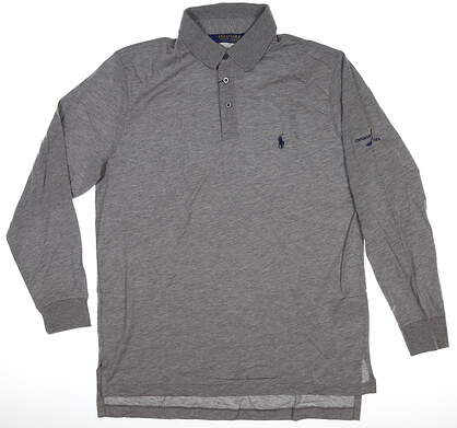 New W/ Logo Mens Ralph Lauren Long Sleeve Golf Polo Medium M Gray MSRP $140