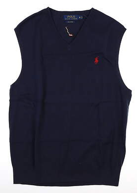 New W/ Logo Mens Ralph Lauren Sweater Vest Medium M Navy Blue MSRP $75