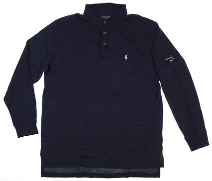 New W/ Logo Mens Ralph Lauren Long Sleeve Golf Polo Large L Navy Blue MSRP $145
