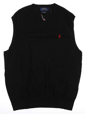 New W/ Logo Mens Ralph Lauren Sweater Vest Medium M Black MSRP $75
