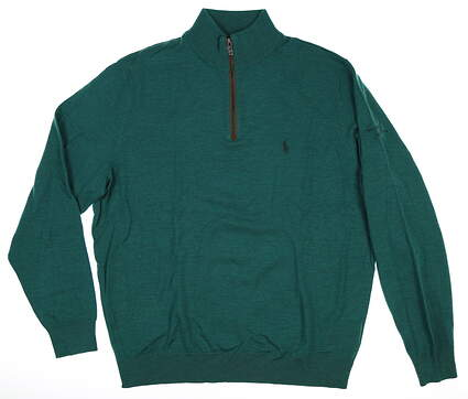 New W/ Logo Mens Ralph Lauren Merino 1/4 Zip Sweater Large L Green MSRP $189
