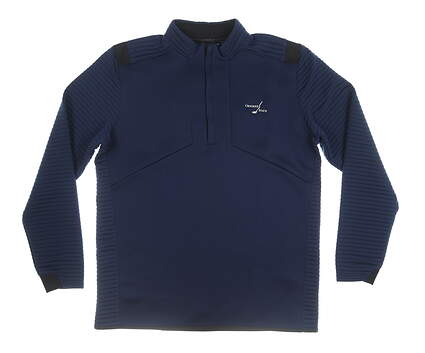 New W/ Logo Mens Under Armour 1/4 Zip Pullover Large L Navy Blue MSRP $100