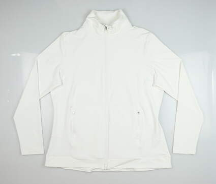 New Womens Peter Millar Full Zip Mock Neck X-Large XL White MSRP $125
