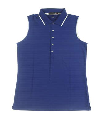 New Womens Ralph Lauren RLX Sleeveless Polo Medium M Blue MSRP $85