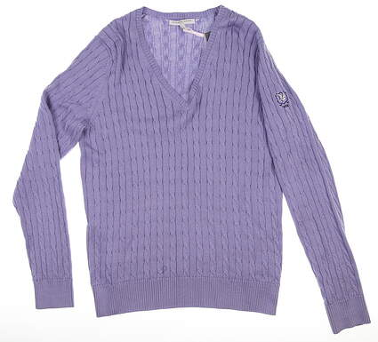 New W/ Logo Womens Fairway & Greene Perry Sweater Large L Purple MSRP $125 D32178