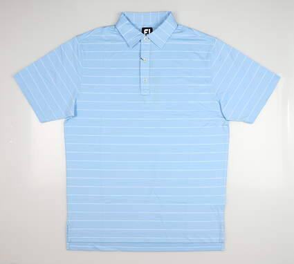 New Mens Footjoy Double Pinstripe Polo Large L Caribbean 257388