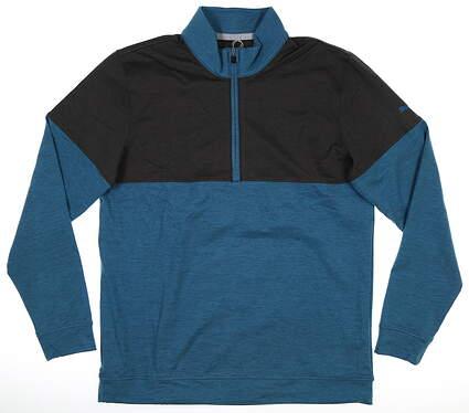 New Mens Puma Cloudspun Warm Up 1/4 Zip Medium M Digi Blue/ Puma Black MSRP $75 595803 07