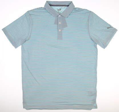 New Mens Puma Caddie Stripe Polo Medium M Milky Blue MSRP $65 595115 16